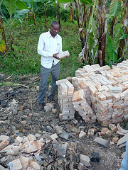 Godfrey with finished bricks